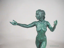 Load image into Gallery viewer, Green Patina - Sirenetta Little Mermaid Bronze Statue of Nude Woman Standing Dancing Arm Outstretched Detail of Statue