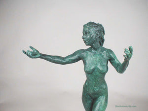 Green Patina - Sirenetta Little Mermaid Bronze Statue of Nude Woman Standing Dancing Arm Outstretched Detail of Statue