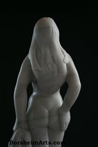 Back View Woman The Offering Vulnerable Woman Sculpture Canadian Marble