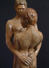 Load image into Gallery viewer, Back of Woman Together and Alone Bronze Sculpture of Man Woman Couple