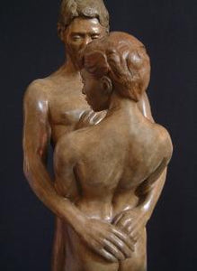 Back of Woman Together and Alone Bronze Sculpture of Man Woman Couple