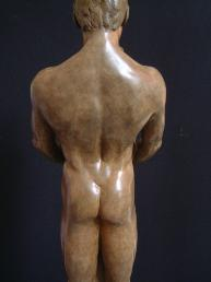 Man's Back Together and Alone Bronze Sculpture of Man Woman Couple