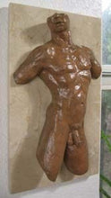 Load image into Gallery viewer, Valentine Male Nude Torso Bronze Wall Hanging Art
