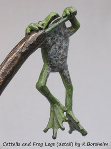 Self-portrait of the artist, Hanging Frog, Detail images of the bronze sculpture, Cattails and Frog Legs