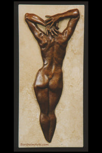 Ten Female Nude Back Hands Small Bronze Sculpture Stone Base