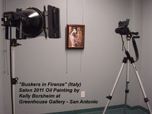 Load image into Gallery viewer, Greenhouse Gallery photographs Award-winning painting Buskers in Firenze for Catalog