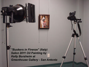 Greenhouse Gallery photographs Award-winning painting Buskers in Firenze for Catalog