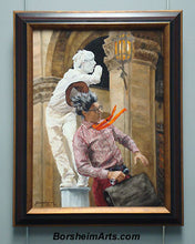 Load image into Gallery viewer, Buskers in Firenze Two Mimes Performing Artists Florence Italy Painting
