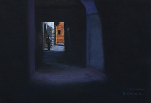 Solitary Boy Boy in the Striped Tunnel Marrakesh Morocco Exhibition Pastel Art Pastel Drawing on Black Paper