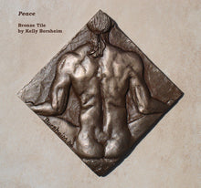 Load image into Gallery viewer, Peace Nude Man Bronze Tile Diamond Shape