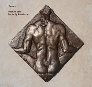 Peace Nude Man Bronze Tile Diamond Shape