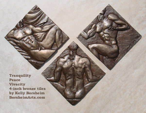These solid bronze tiles were designed for a bathroom.  They are an open series, with each bronze tile being cast individually, with a diamond shape if hung vertically.  They are signed and the numbers are either on the backs or the sides.  They are titled individually:  Peace, Tranquillity, and Vivacity.