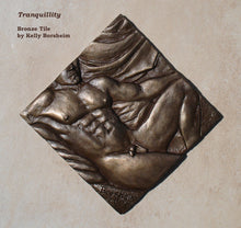 Load image into Gallery viewer, Tranquility Nude Man Bronze Tile Diamond Shape