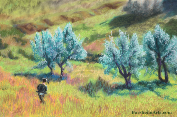 Childhood in Casignano Boy Running in Italy Olive Grove pastel painting landscape art