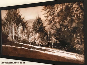 Enchanted Afternoon Landscape Trees Painting Long Shadows