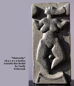 Vasily Fedorouk Maternity Motherhood Granite Relief Sculpture