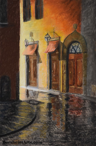 Florence Street at Night, Italy after a rain Pastel Painting on Uart Paper, mounted on foam core