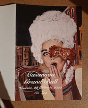 Load image into Gallery viewer, Oops Venice Italy Costume and Mask Fine Art PRINT of Painting Surprised Woman PAINTING Canal Oops! Venezia Casanova Grand Ball Menu Cover 2020