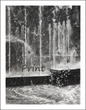 Load image into Gallery viewer, Effervescence Water Fountain in Milan Italy Spraying Water Bubbler Travel Summer City Scene Black and White - PRINT Fine Art Reproduction