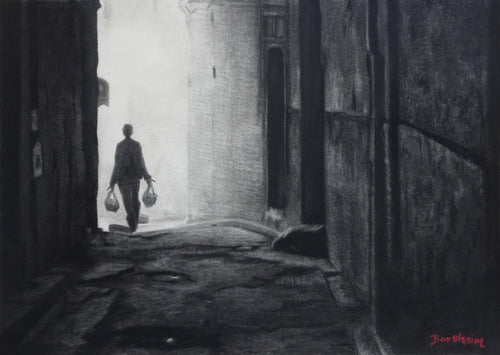 Solo Man walks down a decrepite alley Going Home Fez Morocco Walking in Alley Black and White Charcoal Drawing Framed and Matted with Glass ORIGINAL Art