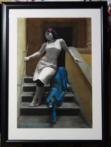 Framed Le Scale dell'Eros [The Stairs of Love] Woman and Blue Panther Laws of Attraction - ORIGINAL Pastel Art