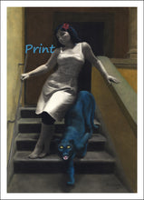 Load image into Gallery viewer, Le Scale dell'Eros [The Stairs of Love] Pretty Woman and Blue Panther Laws of Attraction ~ Fine Art Print