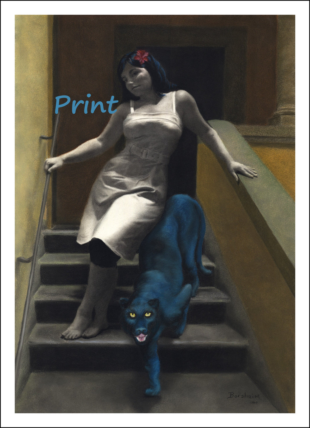 Le Scale dell'Eros [The Stairs of Love] Pretty Woman and Blue Panther Laws of Attraction ~ Fine Art Print