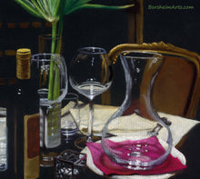 Load image into Gallery viewer, Detail of Pastel on black paper A Night's Promise Home Table Setting for TWO Wine Transparent glass Palm Romantic - ORIGINAL Pastel Drawing Black Paper