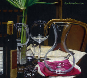Detail of Pastel on black paper A Night's Promise Home Table Setting for TWO Wine Transparent glass Palm Romantic - ORIGINAL Pastel Drawing Black Paper