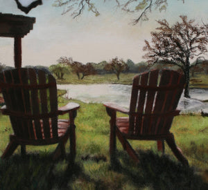 Detail of Lawn Chairs Morning Light at the Vineyard - Florence, Texas Sun Chairs Relax Lake View - ORIGINAL Pastel Painting