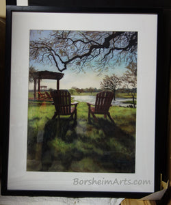 Framed Morning Light at the Vineyard - Florence, Texas Sun Chairs Relax Lake View - ORIGINAL Pastel Painting