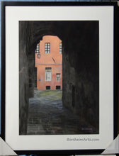 Load image into Gallery viewer, In Frame Coral Corridor Siena Italy Europe Architecture Stone Buildings Original Drawing Pastel Charcoal