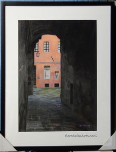 In Frame Coral Corridor Siena Italy Europe Architecture Stone Buildings Original Drawing Pastel Charcoal