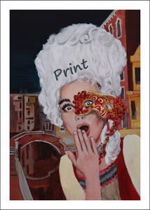 Oops Venice Italy Costume and Mask Fine Art PRINT of Painting Surprised Woman PAINTING Canal Oops! Venezia Casanova Grand Ball Menu Cover 2020