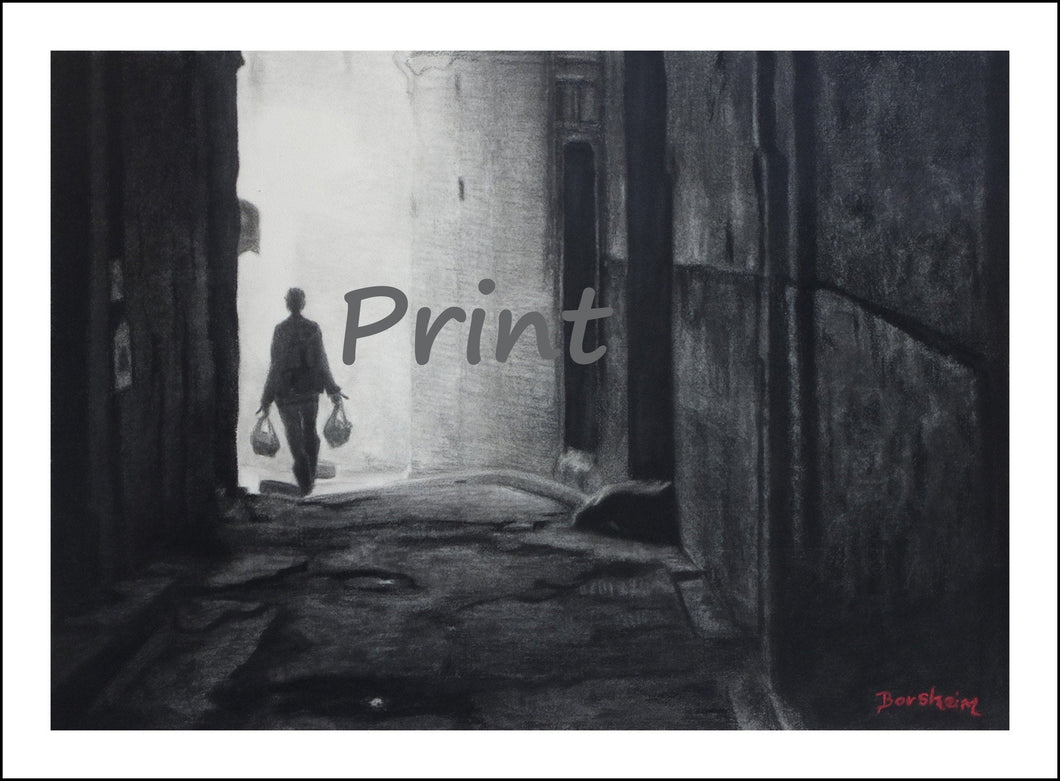 Going Home Fez Morocco Walking in Alley Black and White Charcoal Drawing Single Figure carrying Groceries Home Fine Art PRINT
