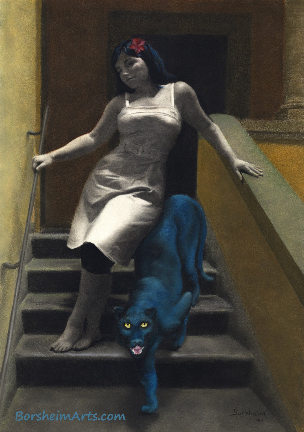 Le Scale dell'Eros [The Stairs of Love] Woman and Blue Panther Laws of Attraction - ORIGINAL Pastel Art