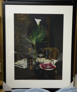 Framed A Night's Promise Home Table Setting for TWO Wine Transparent glass Palm Romantic - ORIGINAL Pastel Drawing Black Paper