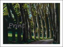 Load image into Gallery viewer, Row of Trees Fine Art Print Tree-lined Road Public Garden Florence Italy Tuscany Fine Art PRINT for Home Pastel Painting black paper