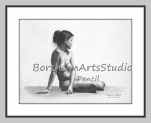 Isidora Classical Realism Nude Figure Drawing Live Model Woman Teaching Aid Digital Download Printable Art