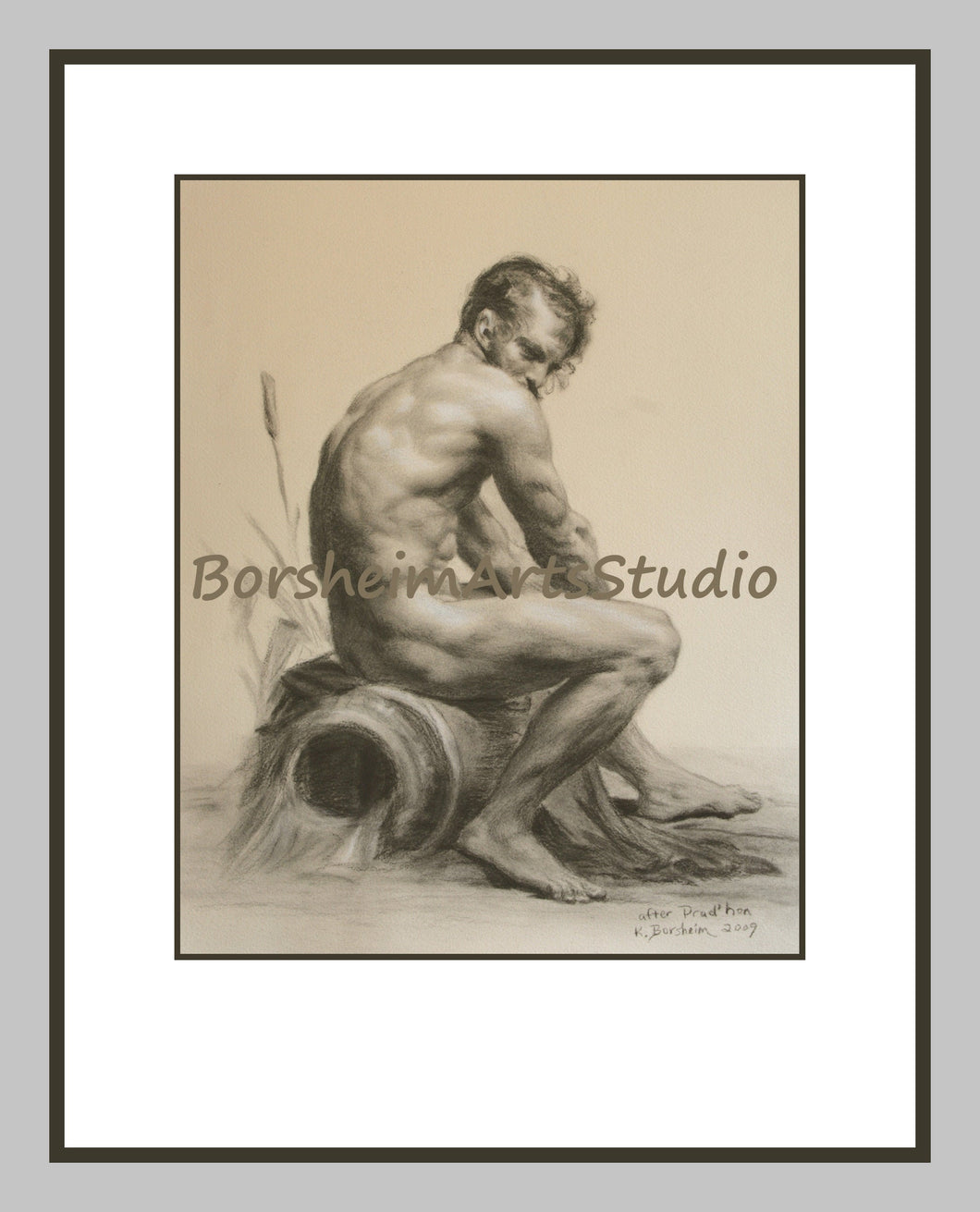 Prudhon Rhine River Allegory Muscular Male Nude Figure Digital Download of Charcoal Drawing Printable Art After Prudhon 1 SEPIA