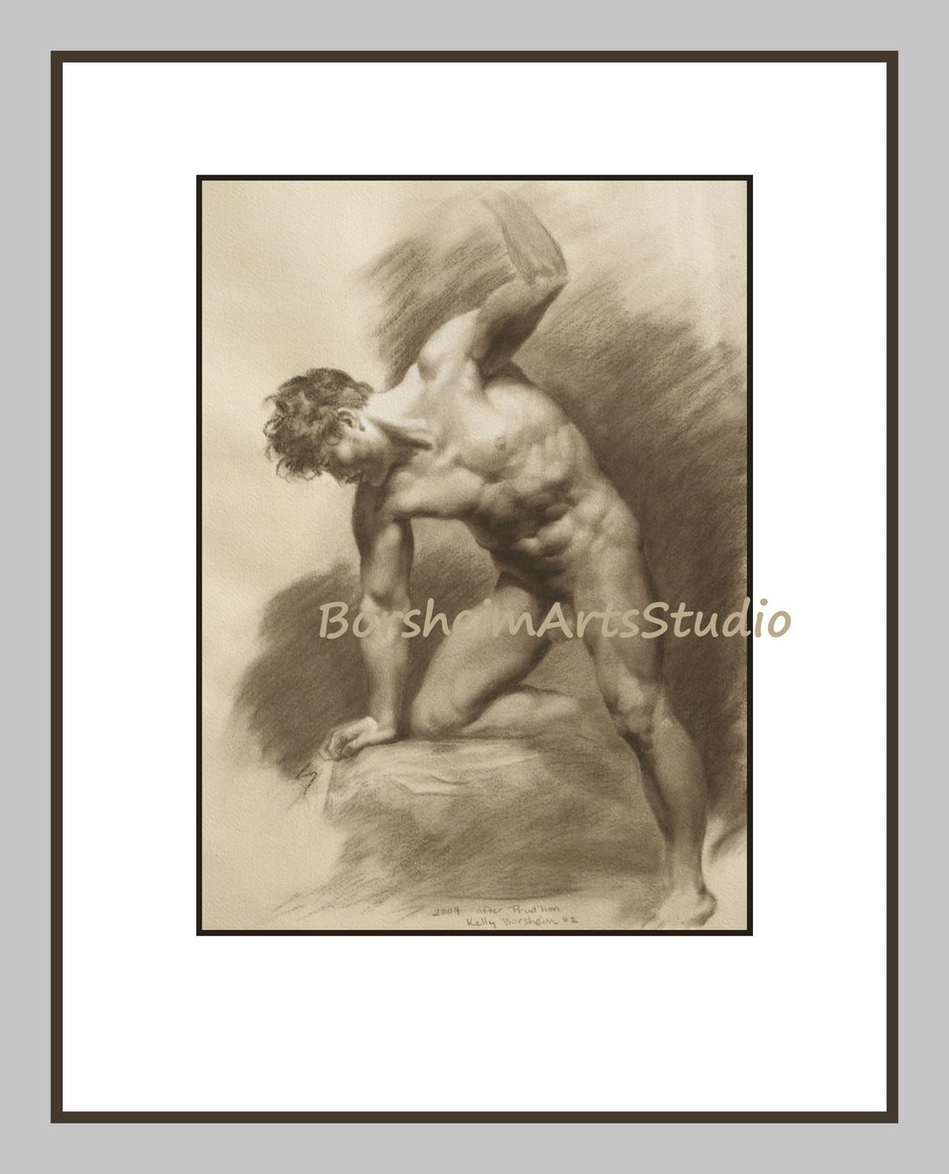 Drawing Anatomy Muscular Male Nude After Prudhon 2 Sepia Digital Download of Charcoal Drawing Anatomy Study Athletic Man Printable Art