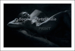 Hindsight - Nude Woman Lying in Bed Thinking Thinker Night Scene Black and White - Fine Art PRINT