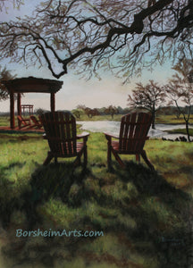 Morning Light at the Vineyard - Florence, Texas Sun Chairs Relax Lake View - ORIGINAL Pastel Painting