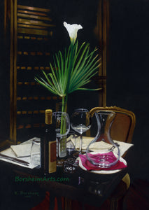 A Night's Promise Home Table Setting for TWO Wine Transparent glass Palm Romantic - ORIGINAL Pastel Drawing Black Paper