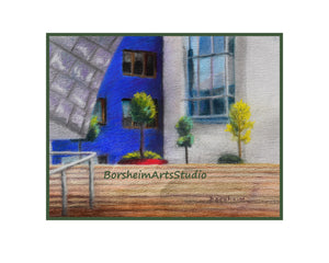 Guggenheim Museum Bilbao Urban Landscape Cityscape Spain Digital Download Pastel Painting Architecture Art