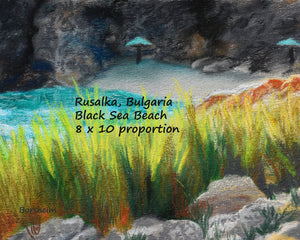 8 x 10 proportion Rusalka Bulgaria Seaside Grasses Landscape Painting of Beach Resort Black Sea Golden Green Grasses Teal waters Digital Download Pastel Art