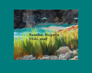 Teal mat Rusalka Bulgaria Seaside Grasses Landscape Painting of Beach Resort Black Sea Golden Green Grasses Teal waters Digital Download Pastel Art