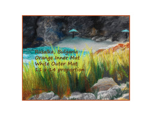 with border orange inner mat Rusalka Bulgaria Seaside Grasses Landscape Painting of Beach Resort Black Sea Golden Green Grasses Teal waters Digital Download Pastel Art