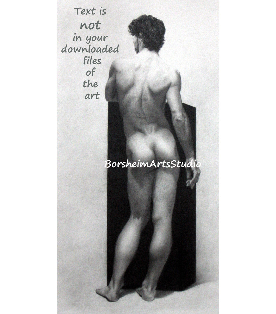 Drawing Nude Male Model Ode to Michelangelo Digital Download of Original Pencil Drawing of Nude Man's backside Printable Art Mauro 2