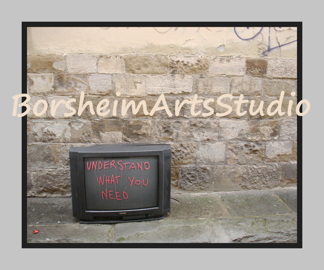 Understand What You Need Digital Download Photograph Stone Wall Trash TV Intelligent Graffiti Inspiring Quote